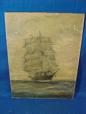19thc TALL SHIP Oil PAINTING on ARTIST BOARD Signed