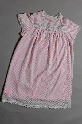 Vintage nightie, pink with lace, nylon and fully lined, mod size 16