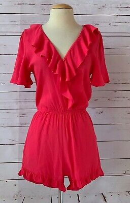 New FRAICHE BY J Size S Coral Ruffle Romper Pink NWOT