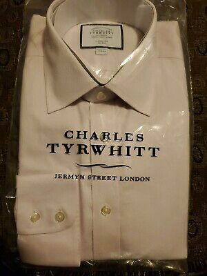 Charles Tyrwhitt Classic Fit Casual Shirt Pink Micro Diamond Size 15.5/33 in