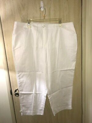 Dress Barn Roz & Ali Woman White Crop Dress Pant Capri Tummy Control, Size 18W