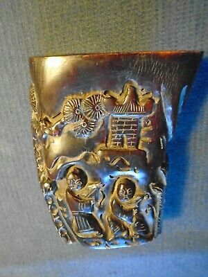 Antique Chinese Buffalo Horn Libation Cup, figures, Qing, good condition.