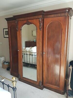 Victorian Mahogany Triple Breakfront Linen Press Wardrobe