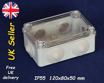 Junction box weatherproof enclosure 120x80x50mm IP55, grommets, transparent lid