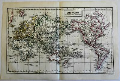 World Map Mercator's Projection Continents Africa Mts. of Moon 1854 Biller map