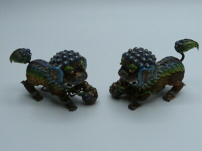 Paar Foo Hunde Silber Emaille China Vintage Chinese silver enamel Foo Dogs