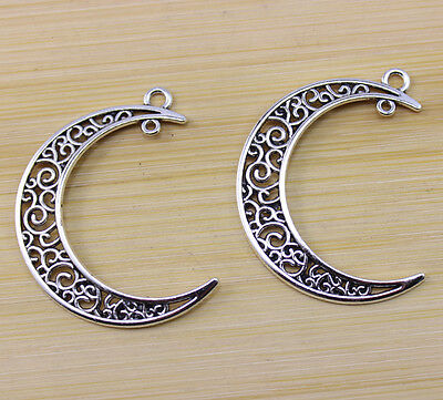12 pcs Retro Style Very beautiful Hollow out moon ancient silver Charm pendant
