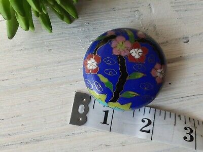 """OLD CHINESE LARGE SINGLE CLOISONNE ENAMEL FOCAL BEAD for NECKLACE 2"""" ROUND"""