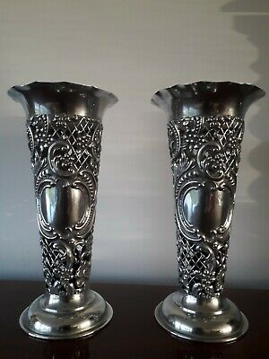 A Pair of Antique silver  Ornate Open Work Vases 1897 London