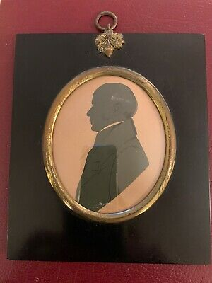 Antique Early 19th Century ~ Miniature Silhouette Of A Gentleman ~Original Frame