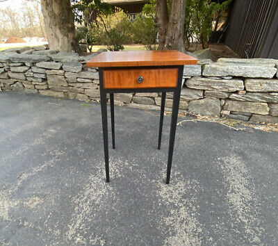 Vintage Eldred Wheeler tiger maple and black painted night stand hand crafted
