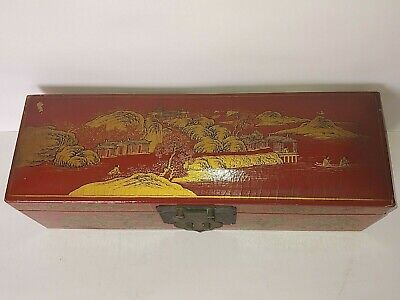 Antique Chinese Large Box Red Lacquer W Gold Hand Painted Scenes & Figures