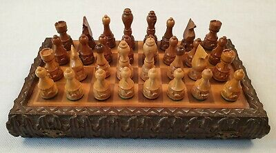 Vintage Carved Wooden Chess Set with Carved Wooden Folding Chess Board Box