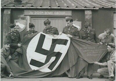 Nazi Flag captured by 305th Bomb group after destruction of factory WW2 5x7