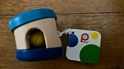 Pintoy Wooden Painted Rolling Bell Rattle Blue Party Bag Stocking Filler Cat Toy