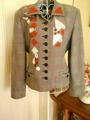 Retro Pure Wool Jacket By Simona With Appliques Made In Australia