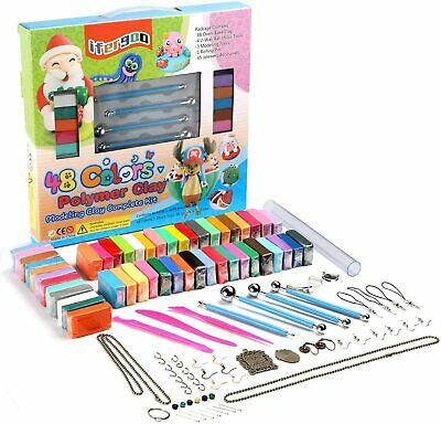 Polymer Clay Kit, 48 Colors Oven Bake Clay 3 Modeling Tools and 40 Accessories,