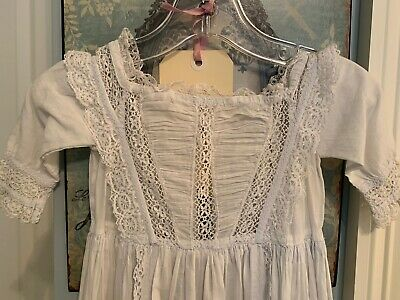 # 2 Antique Long Baptism Christening Embroidered Lace Gown Dress