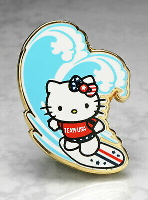 Olympic Pins Badge 2020 2021 Tokyo Japan Hello Kitty Team Usa Usoc Cat Surfer