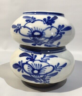 Antique Chinese Ming Dynasty Blue and White Covered Lotus Bowl Pair Set