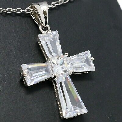 Antique CZ Easter Holy Cross Necklace Women Wedding Jewelry White Gold Plated