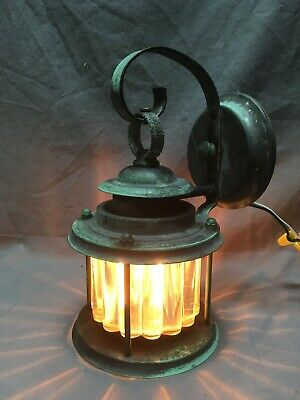 Antique Copper Arts Crafts Porch Sconce Light Fixture Heavy Fluted Shade 246-20E
