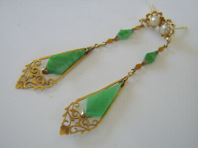 Antique Chinese Pair 18Ct Gold Cavred Apple Green Jade & Pearl Dangling Earings