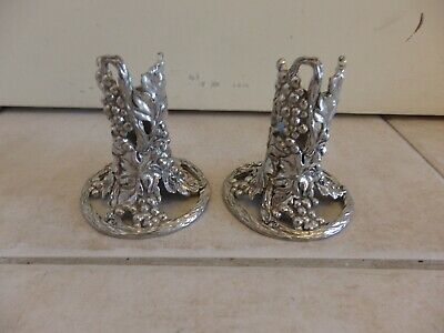 Vintage 2 X Etain Pewter Zinn Grapevine Candle Holders 1992 Seagull Canada