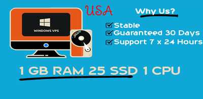 USA Windows RDP VPS 1GB RAM 1vCPU Guaranteed 30 days