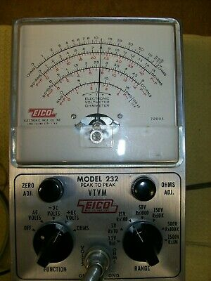EICO VTVM Model 232 Peak to Peak Meter probe manual works