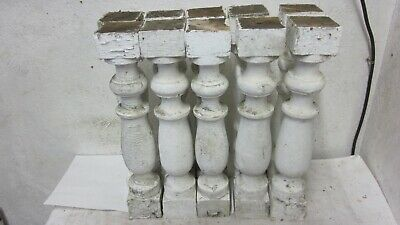 10 Antique Matching Old White Paint Wood Salvaged Porch Rail Spindle Balusters
