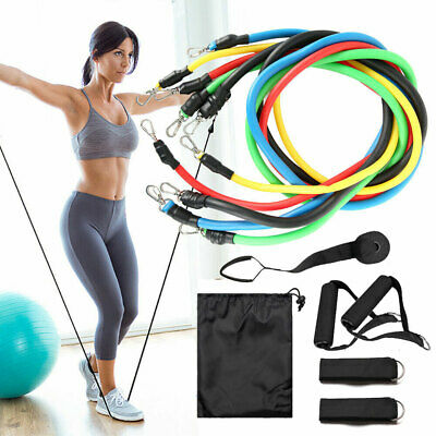 11PCS Resistance Band Yoga Pilates Gym Exercise Home Fitness Tube Workout Bands