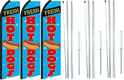 Grand Opening King Swooper Feather Flag Sign Kit with Complete Hybrid Pole Set Fresh Sandwiches,hot Dogs Pack of 3
