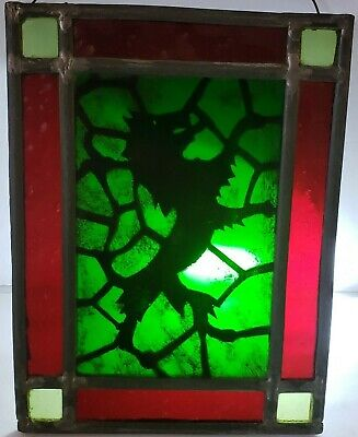 Antique 19th C. 'English Scottish Lion' Stained Glass Leaded Glass Window Panel