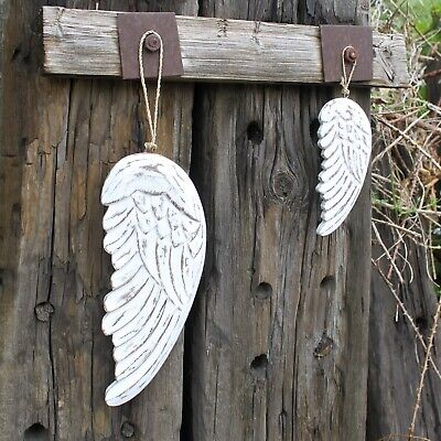 Wooden Hand Crafted Small Angel Wing 18cm White Distressed Wood Hanging Ornament
