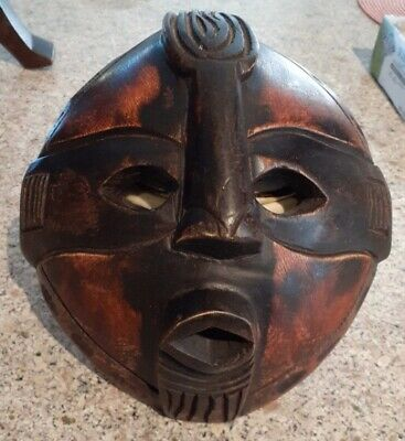 "AUTHENTIC HAND CARVED HARD WOOD & HAND PAINTED GHANA WOODEN TRIBAL MASK 8""x8.50"""