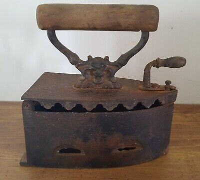 Antique Cast Iron Clothes Iron With Wooden Handle And Devil Decor