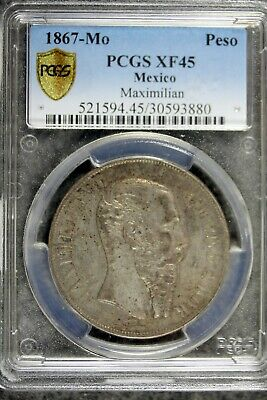 1867 - Mo PCGS XF45 Mexico One Peso Maximilian Empire!!  #B21615