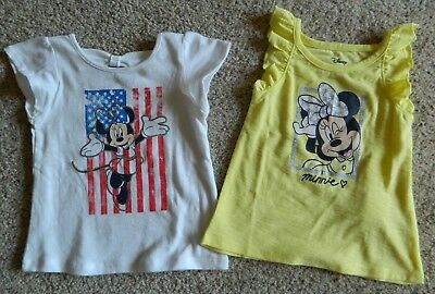 Minnie Mouse 2 pack of girls 12 month Shirts w/glitter