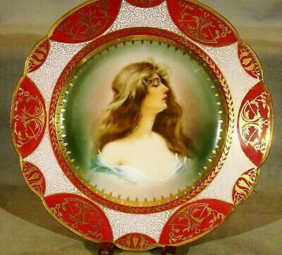 """Royal Vienna Style Blue Beehive Mark Polychrome """"Constance"""" Plate 9 1/2"""" 19th c"""