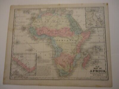 Antique Map Africa Augustus Mitchell 1852 Hand Colored