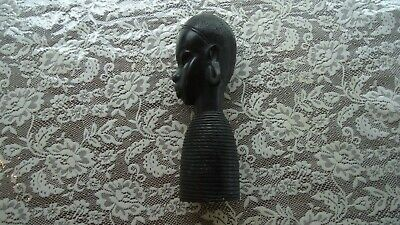 """Hand Carved African Woman Tribal Solid Ebony Wood Bust Sculpture Statue 10"""" high"""
