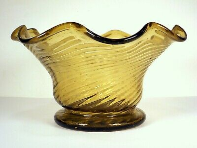 Early Antique American Rib Mold Blown Amber Glass Bowl South Jersey Midwestern