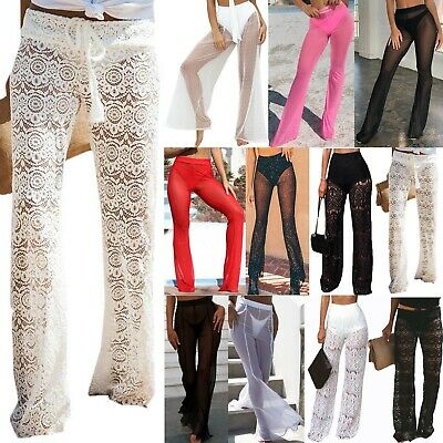 Womens Palazzo Pants See Through Mesh Sheer Lace Sexy Cocktail Party Trousers