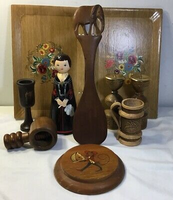 Vintage Lot Of 9 Old Wood Carved Figure Candle Holders Cup Tray Plaque