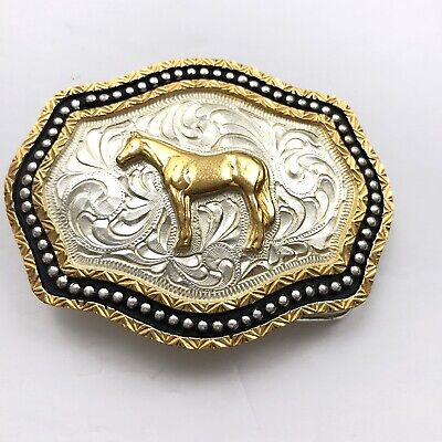 New Large Belt Buckle Horse Rodeo Western Gold Silver Black