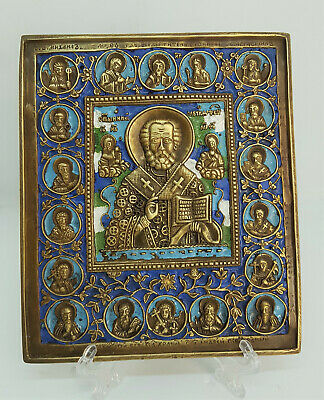Russian orthodox bronze icon Saint Nicholas Chudotvorets (Wonder-worker). Enamel
