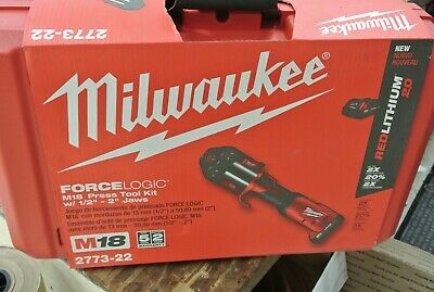 "Milwaukee 2773-22 M18 Force Logic Press Tool Kit 1/2-2"" jaws in case NEW"