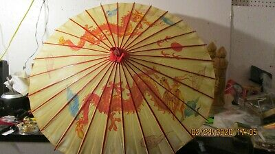 Vintage Antique Asian Hand Painted Parasol Umbrella Bamboo rice paper hand made