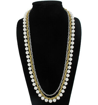 """Layered Necklace White 10mm Faux Pearl Multi Strand Silver Gold Tone Chain 30"""""""